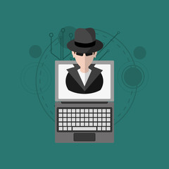hacker and virtual security system icons image vector illustration design