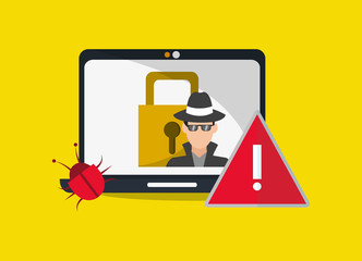 computer with virtual security system icons image vector illustration design