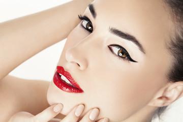 red lips beauty portrait