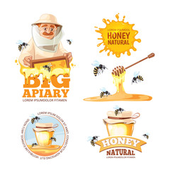 vector illustration set of Apiary symbols