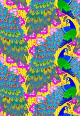 Seamless pattern with peacocks, vector cartoon image.