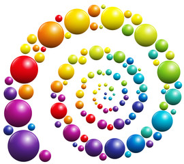 Spiral with colorful balls on white background.