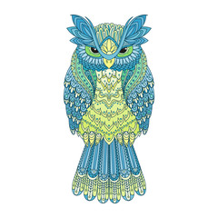 Vector zentangle owl illustration. Ornate patterned bird. Picture for coloring.