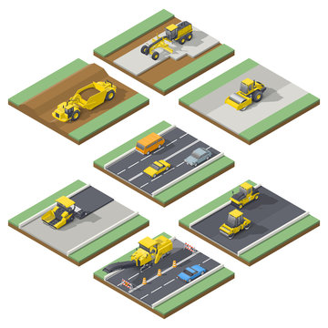 Isometric elements infographic showing the stages of construction or maintenance road with the appropriate using the technique