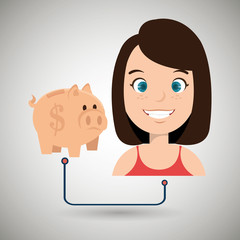 woman cartoon piggy money vector illustration eps 10