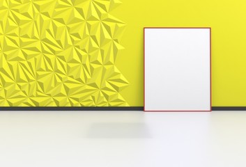 Blank picture in a yellow room, 3D rendering