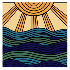 Vector hand drawn decorative abstract wave ornamental
