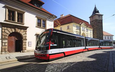 Streetcar transportation in downtown Pilsen, Czech Republic