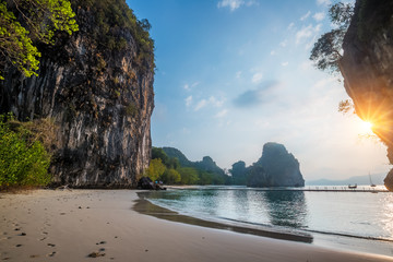 Huge mountains on island of Koh hong at sunset, Krabi province, Thailand Wall mural