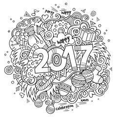 Cartoon cute doodles hand drawn 2017 year illustration