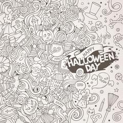 Cartoon cute doodles hand drawn Happy Halloween frame design