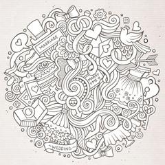 Cartoon cute doodles hand drawn wedding illustration