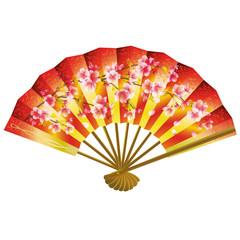 Japanese fan over white
