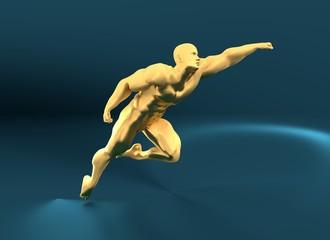 Muscular man posing. Bodybuilder flying. 3d rendering