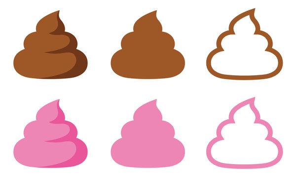 シンプルうんち 〈茶色とピンク〉