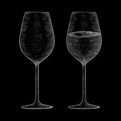 Glass of wine. Hand drawn sketch