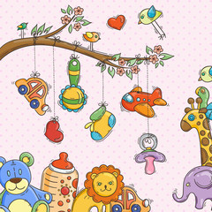 Greeting card with a doodle baby elements.