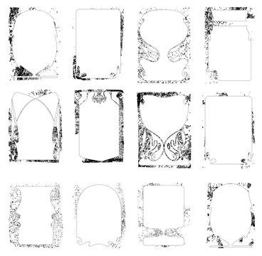 vector set of grunge frames