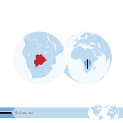 Botswana on world globe with flag and regional map of Botswana.