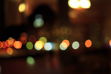 Bokeh night city. yellow warm tone abstract blurred background