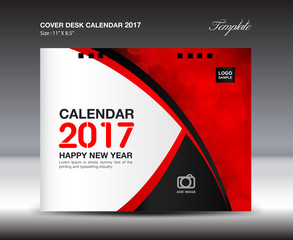 Desk Calendar for 2017 Year, Red Cover Desk Calendar design, vector