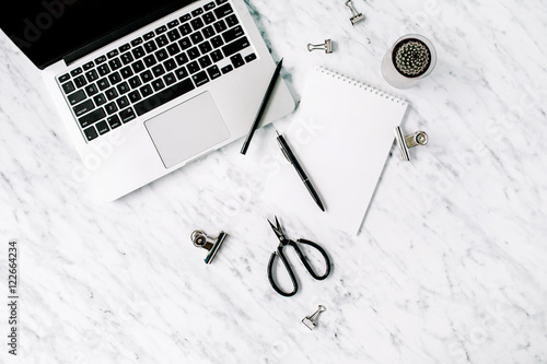table top background office. marble background workspace. flat lay, top view office table r