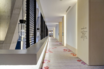 Patterned carpet in corridor of modern building