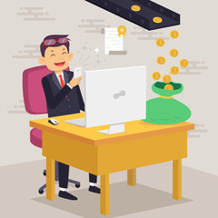 Happy Businessman Making Money Concept