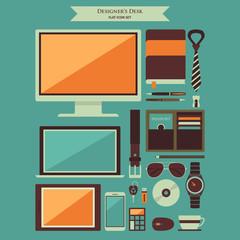 Designer Desktop Items Flat Icons