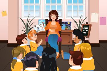 Preschool Teacher Reading a Book During Story Time