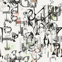 Seamless grunge doodle background. Hand drawn abstract letters.
