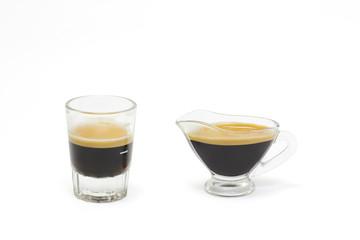 Hot coffee espresso shot in white background