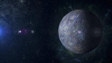 Solar system planet Mercury on nebula background 3d rendering.