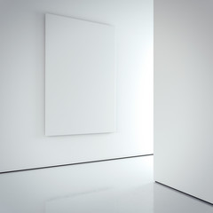 White canvas on the bright wall in gallery. 3d rendering