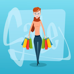 Shopping Woman with Bags Sale Flat Vector Illustration