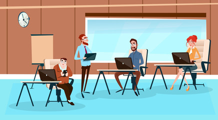Office Interior, Businesspeople Sitting Desk Business People Working Computer Flat Vector Illustration