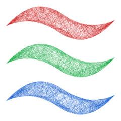 Sketch wave line graphic design element set