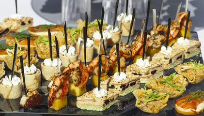 Catering service . sandwiches meat, fish, vegetable canapes on a festive wedding table outdoor