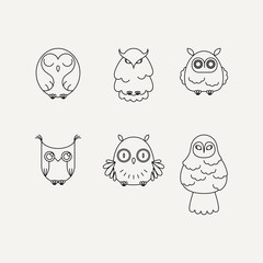 Set of lined owl logos and emblems. Vector illustration collection in line style