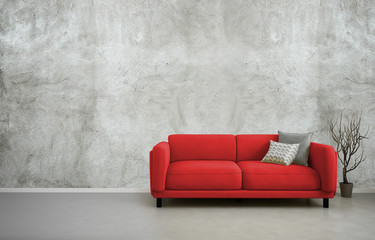 3d illustration of empty interior with red sofa, blank concrete wall, minimalist living room design
