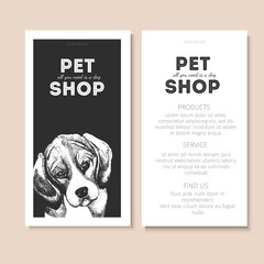 Vector set of pet shop flyers. Dog portrait isolated on black square text template. White informational list.