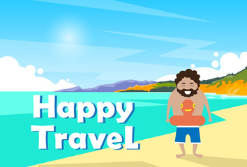 Man On Seaside Vacation Holiday Trip Happy Travel Banner