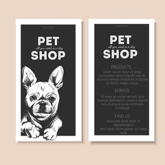 Vector set of pet shop flyers. Dog portrait isolated on black square text template. Black informational list.