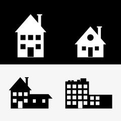 flat design assorted building type icons image vector illustration