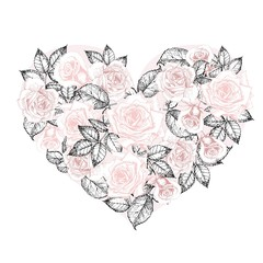 Vector heart of roses. Hand drawn vintage engraved style flowers. Pastel rose color.