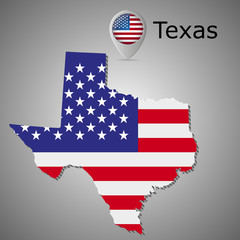 Map of the State of Texas and American flag illustration