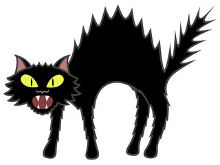 Vector illustration of a cartoon black cat.