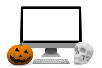 personal computer with skull and halloween pumpkin