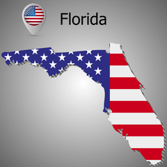 Map of the State of Florida and American flag illustration