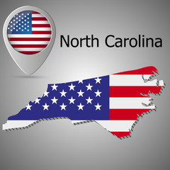 North Carolina State map with US flag inside and Map pointer with American flag. United States of America flag pin map icon eps 10
